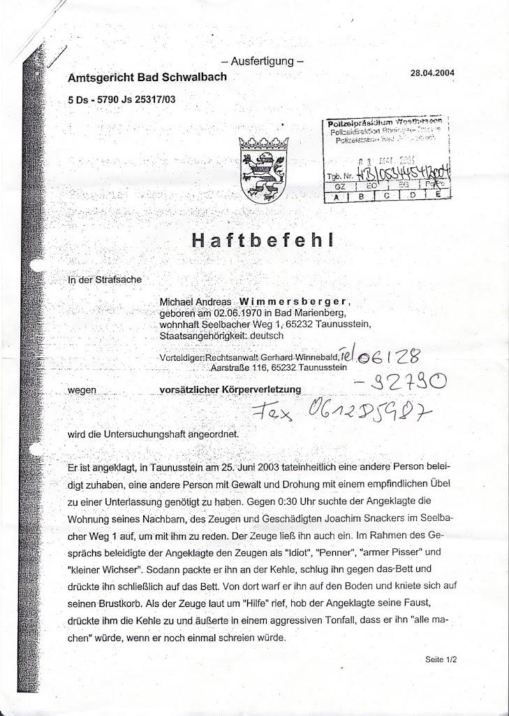 Scheinverfahren: AG Bad Schwalbach und LG Wiesbaden gegen Michael Wimmersberger