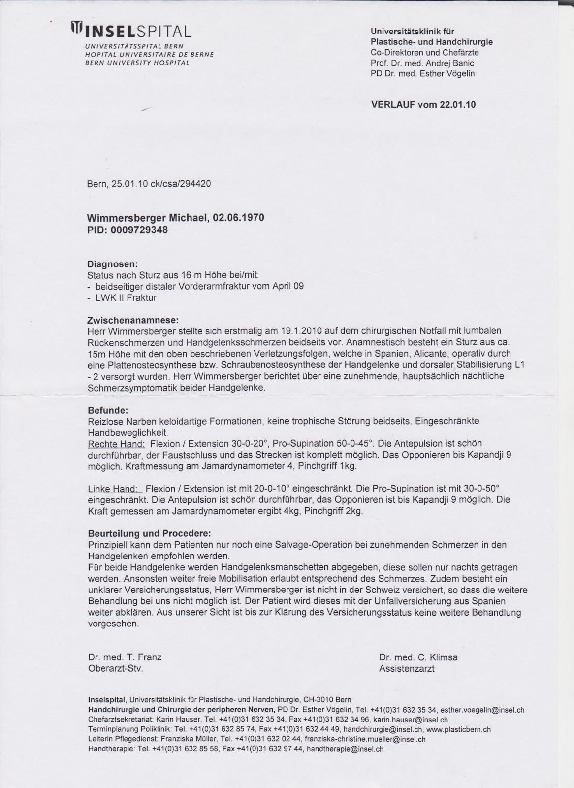 Befund michael wimmersberger | Inselspital Bern